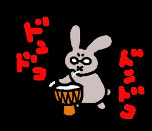 太鼓をならすうさぴこ