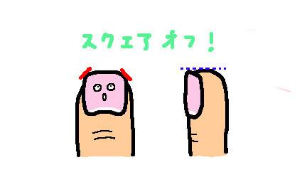 正しい爪の切り方、スクエアオフを示すイラスト