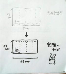 ホットパットの完成予想図と出来上がりのサイズを示したイラスト
