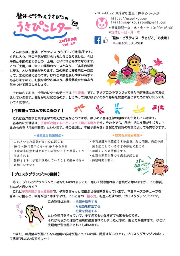 2019年10月号のうさぴこレター・表